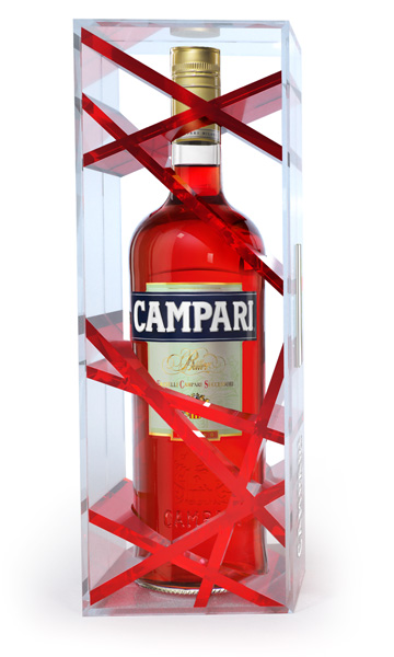 Campari : packaging édition limitée, travel retail.